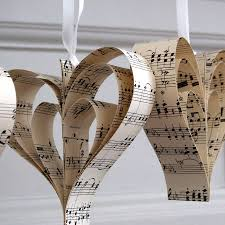 Musical Note Decorations Handmade Sheet Music Heart Decoration By Made In Words