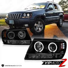 jeep grand cherokee wj 99 04 limited halo led headlight sinister