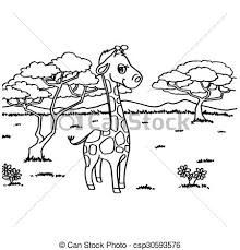 vectors illustration giraffe coloring pages vector image