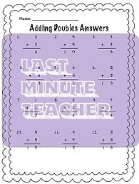 math worksheets adding doubles by last minute teacher tpt