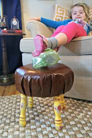 Childrens Leather Chair And Footstool Diy Leather Footstool For The Home Office