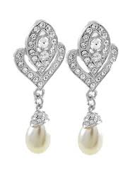 clip on pearl earrings deco style pearl rhinestone drop earrings vintage style