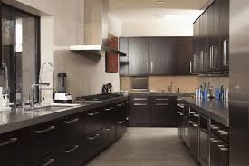 Modern White Kitchen Cabinets Round by Dark Cabinets Light Floors Rectangle Brown Varnished Solid Wood