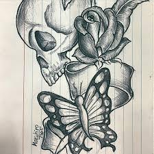 skull rose butterfly tat skull rose tattoo butterfly