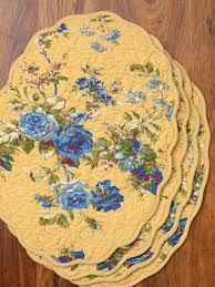 heirloom quilted placemat set 4 gold attic sale linens