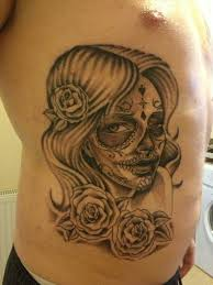 sugar skull and crossed gun tattoo designs in 2017 real photo