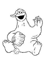 cookie monster coloring pages playing baseball coloringstar