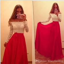 country style whtie and red off the shoulder long sleeve lace