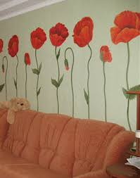 Modern Floral Room Decor Trends Red Poppies On Walls - Poppy wallpaper home interior