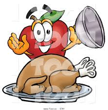 thanksgiving football turkey cartoon happy red apple character mascot with a cooked