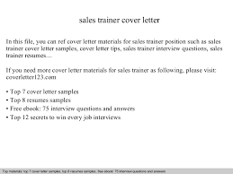 amazing cover letters sles sales trainer cover letter