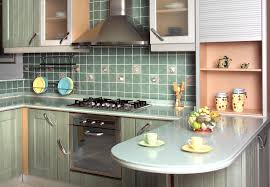 Green Kitchen Tile Backsplash Modern Kitchen Small Design Ideas With White Green Cabinet Granite