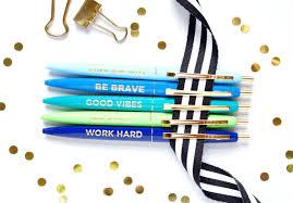 Desk Accessory Set by Positive Pens Set Of 5 Pens Motivational Pens Black Ink