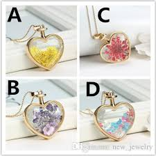 crystal glass pendant necklace images Wholesale heart flower specimens pendant necklace alloy jpg