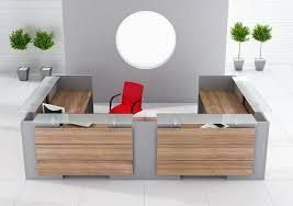 Two Person Reception Desk Exact Drewno Egzotyczne Połączone Z Bazą W Kolorze Srebrnym