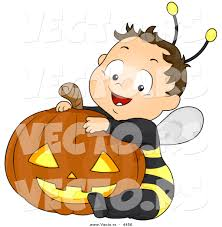 halloween graphic art vector of a happy halloween cartoon boy wearing bee costume while