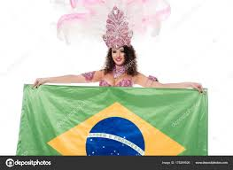 Stock Feather Flags Cheerful Woman Carnival Costume Pink Feathers Holds Flag Brasil