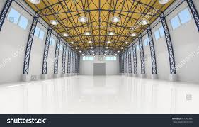 Warehouse Interior Abstract Empty White Warehouse Interior Stock Illustration