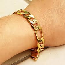 man wrist bracelet images Wonderful figaro bracelet man yellow gold filled wrist chain link jpg