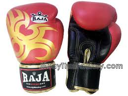 raja boxing muay thai gloves tattoo red black gold rj g 029