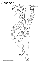 dancing jester colouring picture