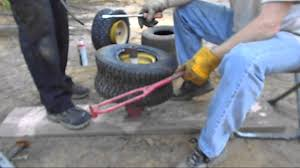 how to mount lawn mower tire w harbor freight mini tire changer