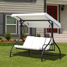 outsunny 3 seater canopy swing chair porch hammock bed rocking