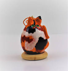 calico cat gourd ornament goldfish calico cat ooak fol