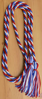 graduation cord white and royal blue intertwined graduation honor cord