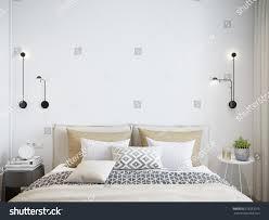 white wall mock white wall bedroom interior scandinavian stock illustration