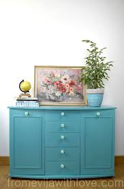 turquoise cabinet makeover for budget craft room from evija with