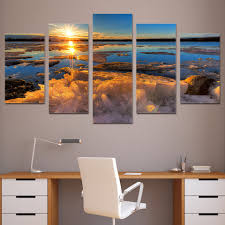 frozen 39 canvas promotion shop for promotional frozen 39 abstract painting wall frame picture home decor photo 5 panel ice sea sunset frozen lake landscape hd print canvas poster pengda