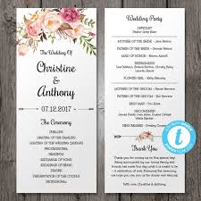 programs for wedding ceremony floral bohemian wedding program template instant by youprintem