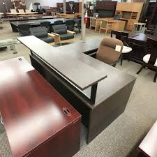 L Shaped Reception Desk Used Right L Shaped Reception Desk Walnut Der1500 002 Office