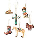 cowboy tree ornaments 4 set home