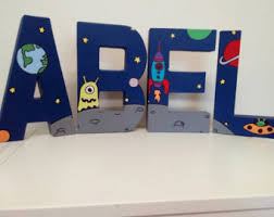 Letter Decorations For Nursery Space Themed Nursery Etsy