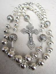 rosary necklace silver images Handmade mens silver rosary necklace amykcollections on artfire jpg