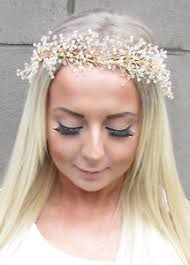 flower headpiece gold gypsophila flower headpiece bridal headband garland bead hair