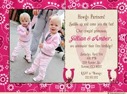 princesses 1st birthday invitation twin party country girls