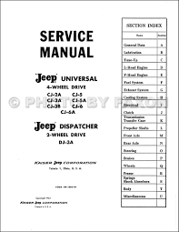 1946 1965 jeep cj 2a cj 3a 3b cj 5 5a 6 repair shop manual reprint