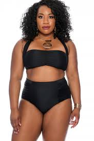 sexy hairstyles for plus size woman with double chins sexy black high waist plus size two piece swimsuit