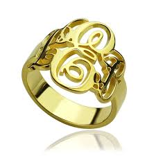 monogram ring wholesale monogrammed initials ring personalized vine monogram ring