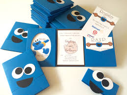 cookie monster baby shower invitations stationery designs by