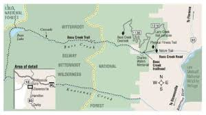 bitterroot mountains map hiking and trails on bitterroot national forest