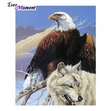 raptor beast embroidery eagle and wolf picture
