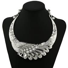 choker necklace store images 2018 multi color carving peacock choker necklace for women silver jpg