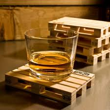 mini wooden pallet drink coasters set of 4 mat coffee holder