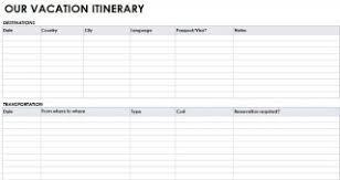 free itinerary templates u2013 travel wedding trip vacation