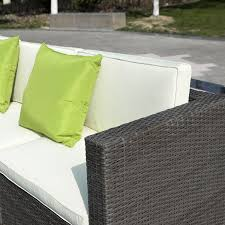 Grey Wicker Patio Furniture - costway outdoor patio 5pc furniture sectional pe wicker rattan