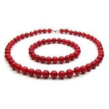 bracelet earrings set images Sterling silver coral bead necklace and bracelet set 9mm jpg